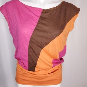 XXI orange, brown and pink crop top blouse sz M